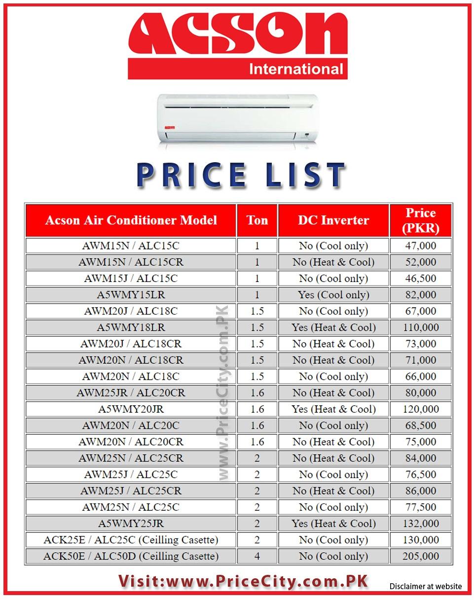 Acson AC Price in Pakistan List