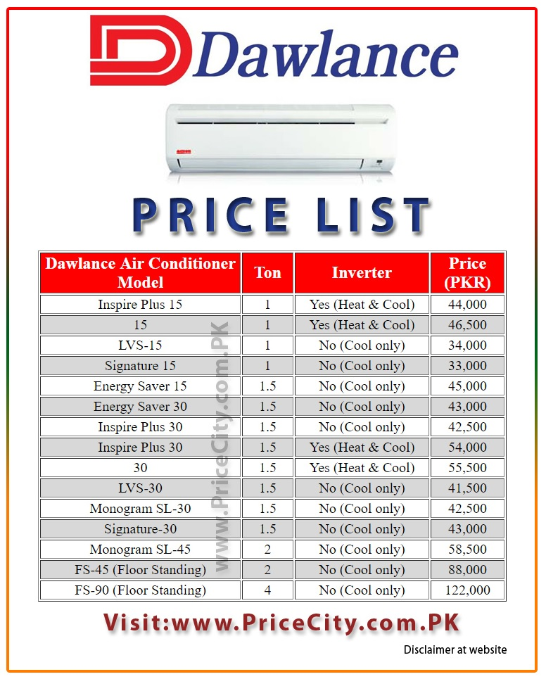 Dawlance AC Price in Pakistan List Models