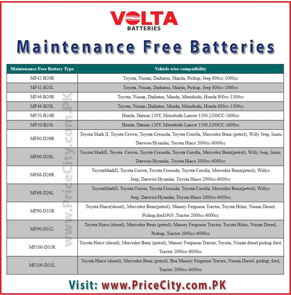 Volta Maintenance Free Battery
