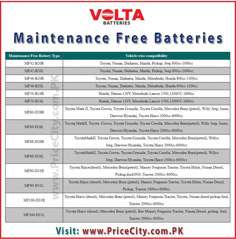 Volta Maintenance Free Battery